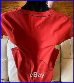$4800 CHANEL 2014 Red Midi 34 36 38 2 4 6 8 Knit Top Dress Shirt 14p Stretch