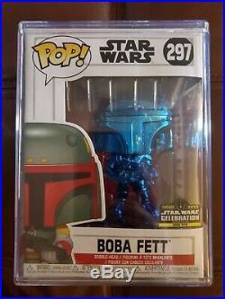 FUNKO POP! STAR WARS #297 BOBA FETT Blue Chrome CELEBRATION EXCLUSIVE 2500 pcs