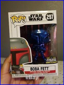 FUNKO POP! STAR WARS #297 BOBA FETT Blue Chrome SWCC Exclusive
