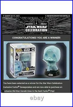 Funko Obi-Wan Kenobi Glow In Dark #392 Star Wars Celebration LE ships 1/9/21