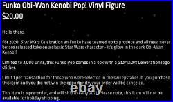 Funko POP GITD Obi-Wan Kenobi Star Wars Celebration Exclusive only 3k made