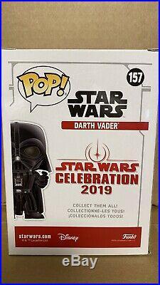 Funko Pop! Darth Vader Blue Chrome Star Wars Celebration Ex 2019 WithPop Protector