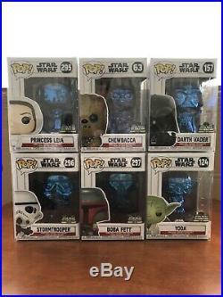 Funko Pop Star Wars 2019 Star Wars Celebration Blue Chrome Complete Set of Six
