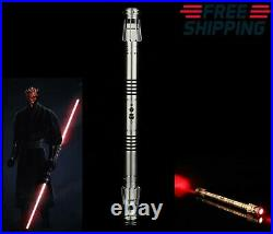 Hot Star Wars Replica Lightsaber Darth Maul Cosplay Silver Metal Red Light Prop