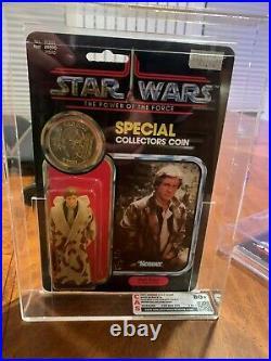 Kenner Vintage Star Wars POTF HAN SOLO TRENCH COAT 92 Back MOC AFA/CAS 80+