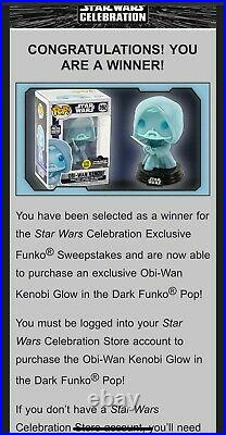 Obi wan kenobi Funko pop #392 star wars celebration GITD 1/3000