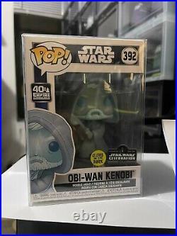 Obi wan kenobi Funko pop #392 star wars celebration GITD 1/3000 NM 9.2 MINT