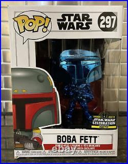 Official Funko Pop! 2019 Star Wars Celebration Blue Chrome Boba Fett 297