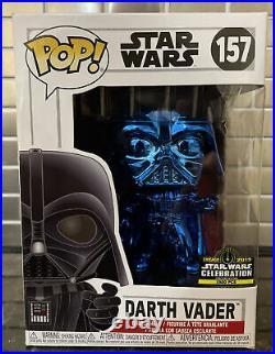 Official Funko Pop! 2019 Star Wars Celebration Blue Chrome Darth Vader 157