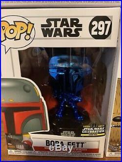 Star Wars Celebration 2019 Chicago Funko Pop Exclusive Blue Chrome Set of 6 Rare