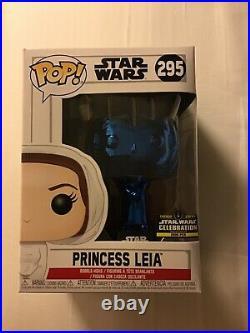 Star Wars Celebration Chicago 2019 EXCLUSIVE Blue Chrome Princess Leia Funko 295