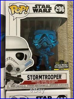 Star Wars Celebration Funko Pop Set Of 6 Blue Chrome In Protective Cases