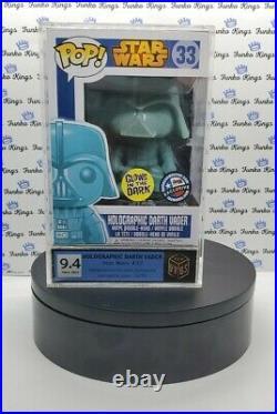 Star Wars FUNKO POP! Holographic Darth Vader Vinyl Bobble Head GITD GRADED 9.4