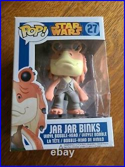 Star Wars Funko Pop! #27 Jar Jar Binks Vinyl Bobble Head Retired Blue Box