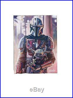 The Mandolorian & Baby Yoda Star Wars Pop Art Painting 18x24 Chris Cargill